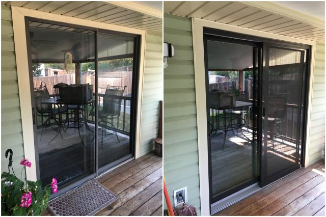 Casper, WY - Our team in Casper replaced this old sliding door with our Perma-Shield® Gliding Patio Door with a Gliding Insect Screen and finished with a black exterior trim!