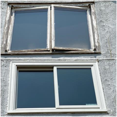 Sidney, NE - We replaced this old window in Sidney with our RbA Fibrex® Gliding Window with a white exterior finish!