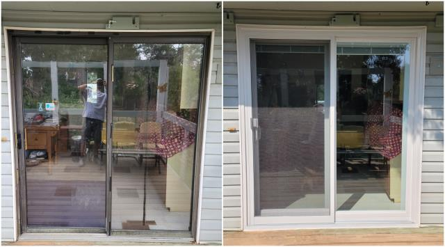 Sheridan, WY - Stunning upgrade done in Sheridan! We replaced this old sliding door with our Narroline® Gliding Patio Door finished with a white exterior trim!