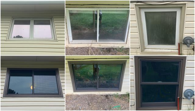 Gillette, WY - LOVE!! What a stunning upgrade and install we did in Gillette. We replaced these old windows with our RbA Fibrex® Gliding & Double-Hung windows all finished with a complimentary dark bronze exterior finish!