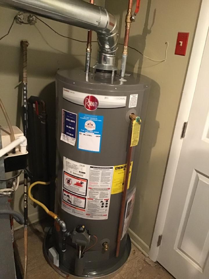Install new 40 gal Rheem water heater