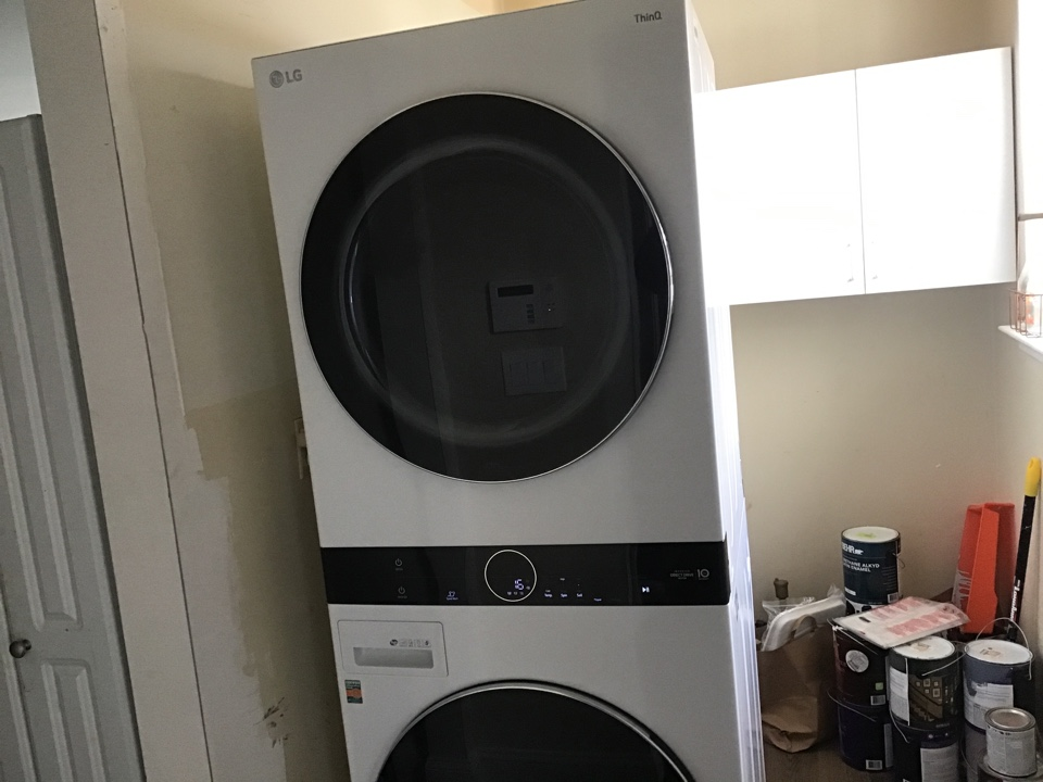Washer and dryer installed.