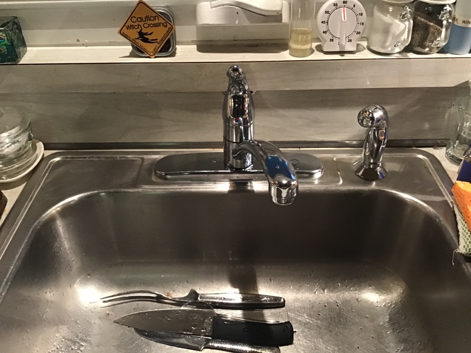 Beachwood, NJ - New kitchen faucet installed Moen Chateau with side spray.