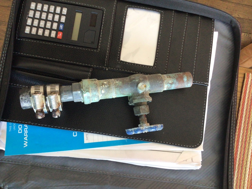 Replace old leaky gate valve and plastic poly adapter with new ball valve and brass