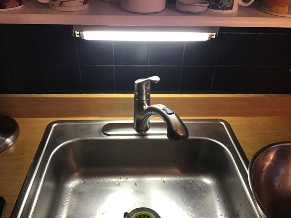 Customer supplied kitchen faucet installed