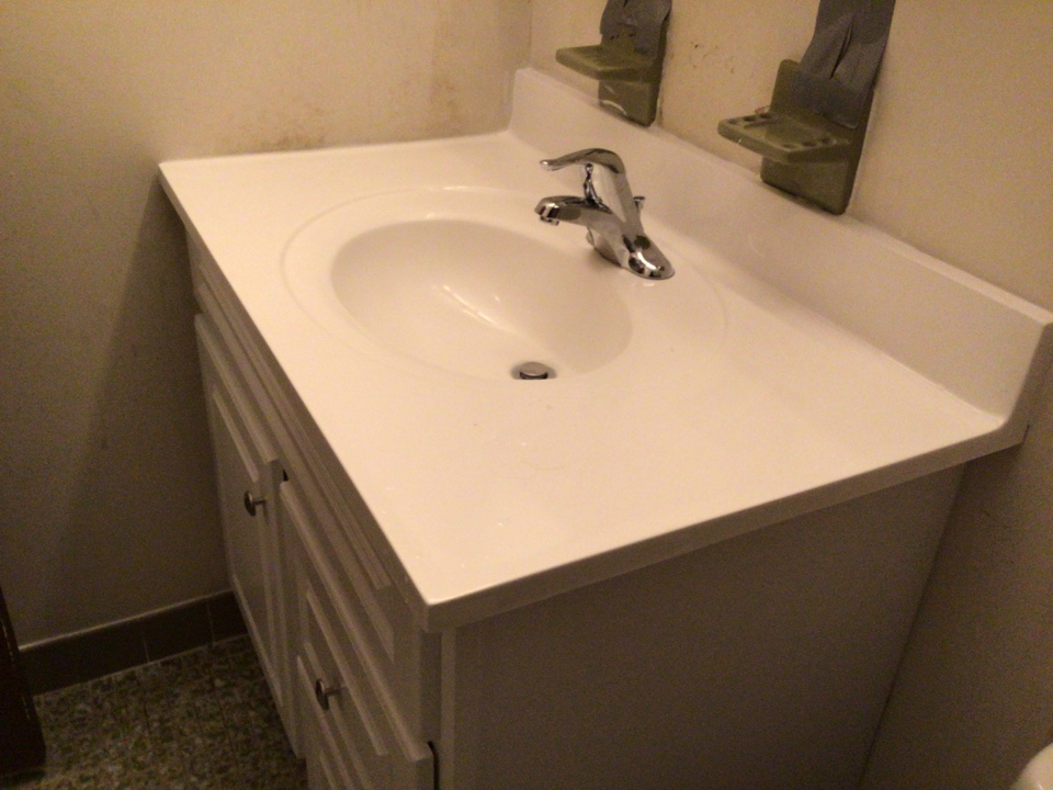 Installed a new vanity and moved up the Avocado soap dish and tooth brush holder in Barnegat