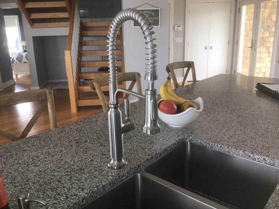 Installed a customer supplied Kohler kitchen faucet in Lavalette