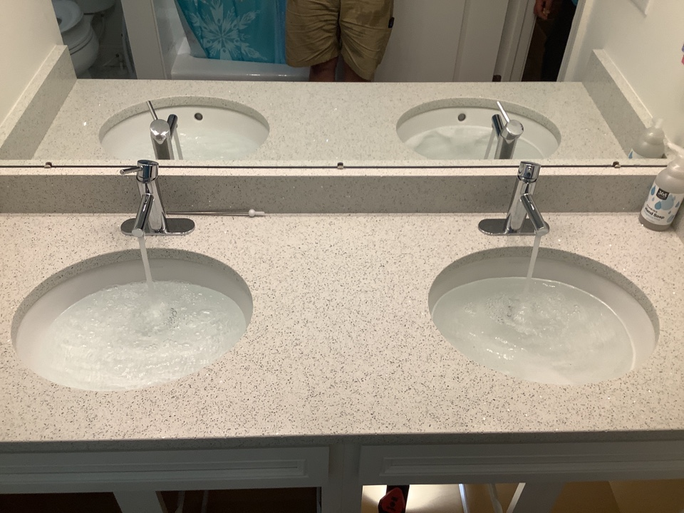 Install new customer supplied lav faucets in Lincroft, NJ