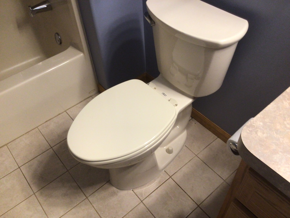 Supplied and installed one new American standard  almond comfort height toilet in Beachwood