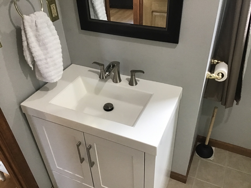 New shower valve installed with customer supplied toilet, vanity, shower trim, and lav faucet. Also new angle stops installed as well in Bayville NJ.