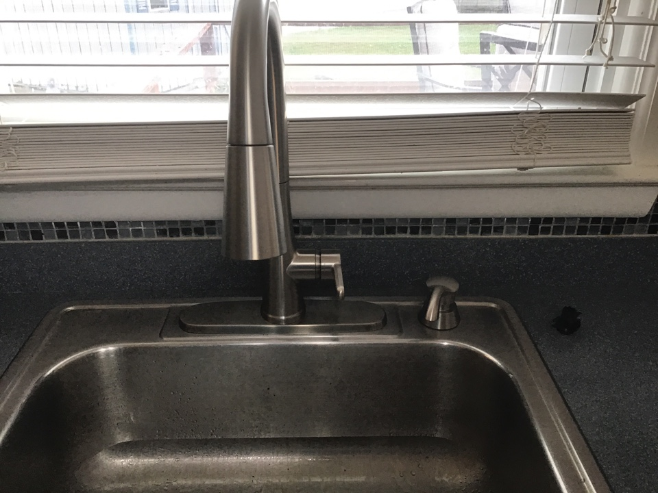 Customer supplied kitchen faucet installed in Manahawkin NJ.