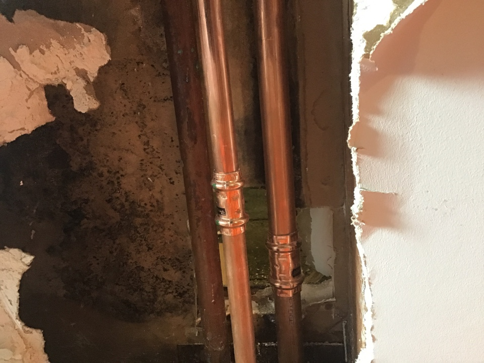 Cut out and replaced all damaged copper piping in house and basement in Beachwood NJ.