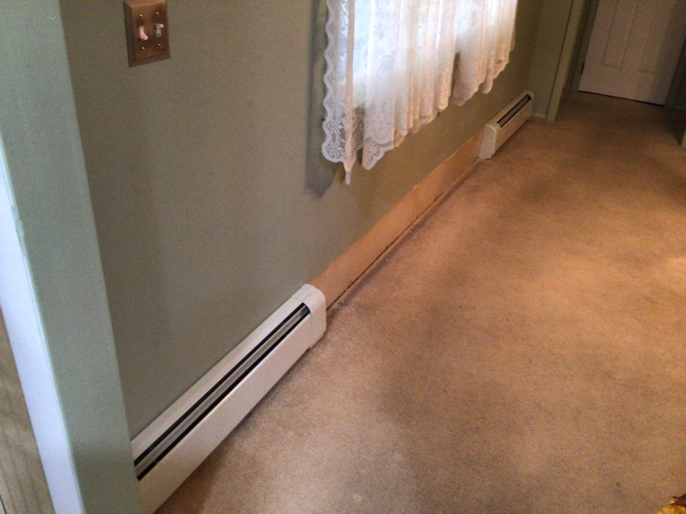 Removed old baseboard and installed new high output baseboard for future sliding door. Job is in holiday city Berkeley