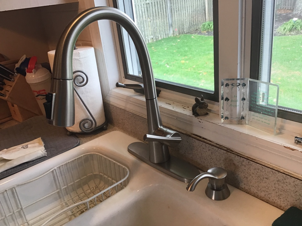 Customer supplied kitchen faucet installed in Toms River NJ.
