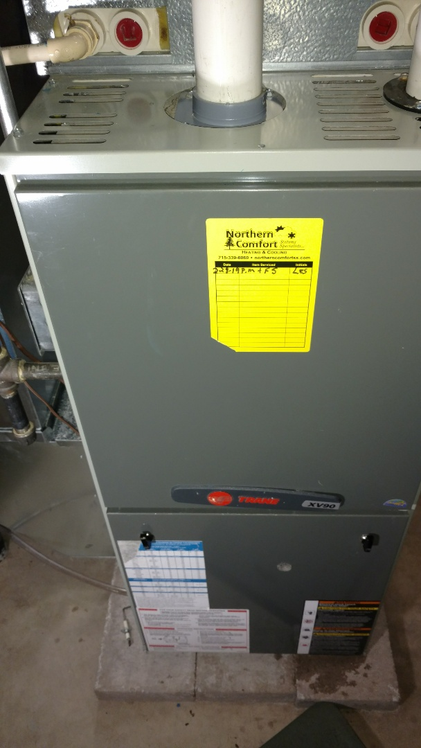 Tripoli, WI - Perform preventive maintenance check on Trane XV90 furnace. Replace flame sensor.