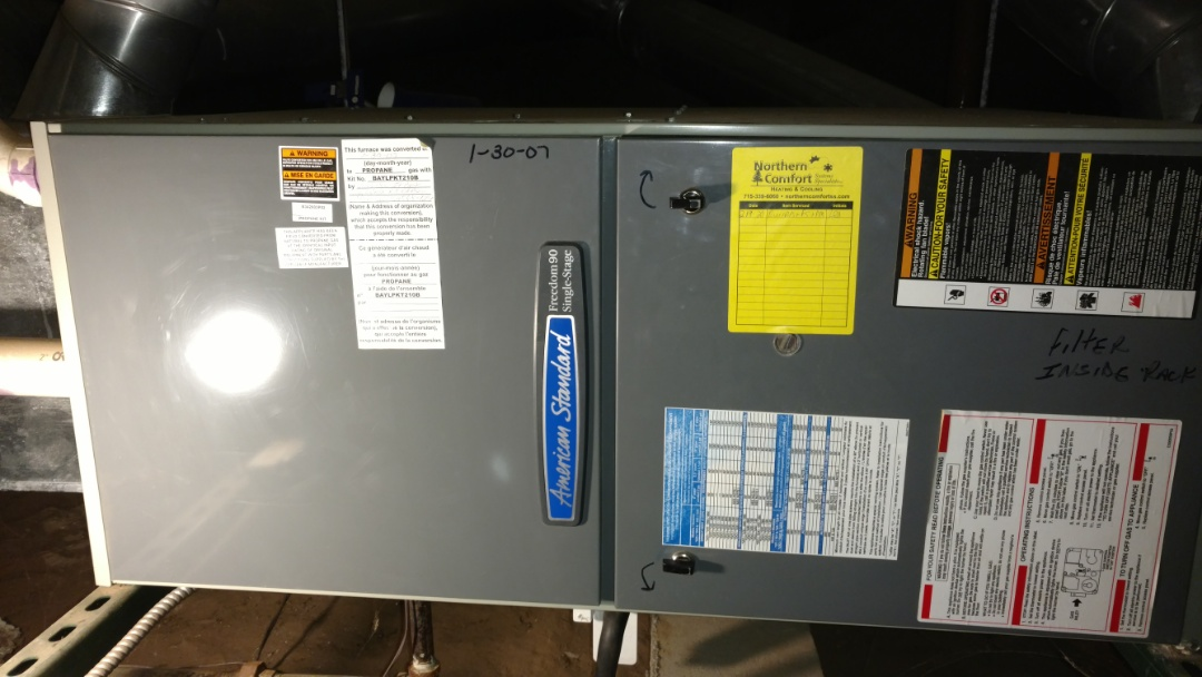 Lac du Flambeau, WI - Replace flame sensor and burners on American Standard XR95 LP gas furnace.