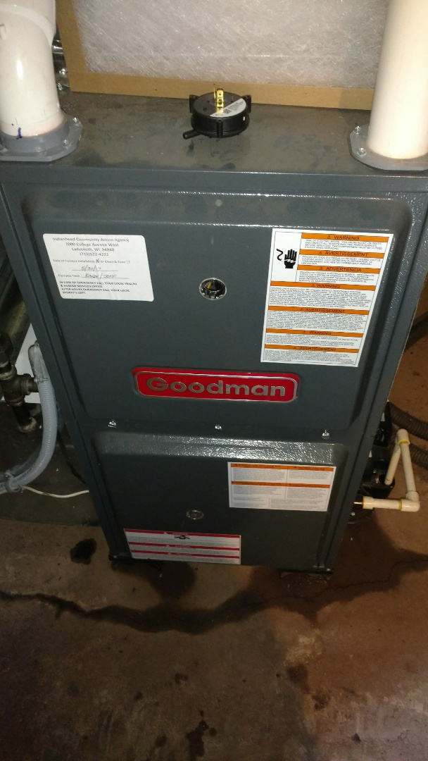Ogema, WI - Replace weak pressure switch on Goodman LP gas furnace. Perform preventive maintenance check.
