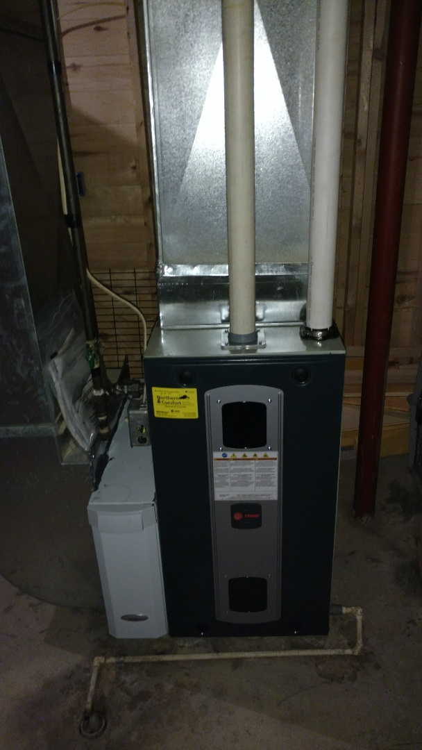 Ladysmith, WI - Perform preventive maintenance check on Trane S9V2 furnace. Adjust continuous fan speed.