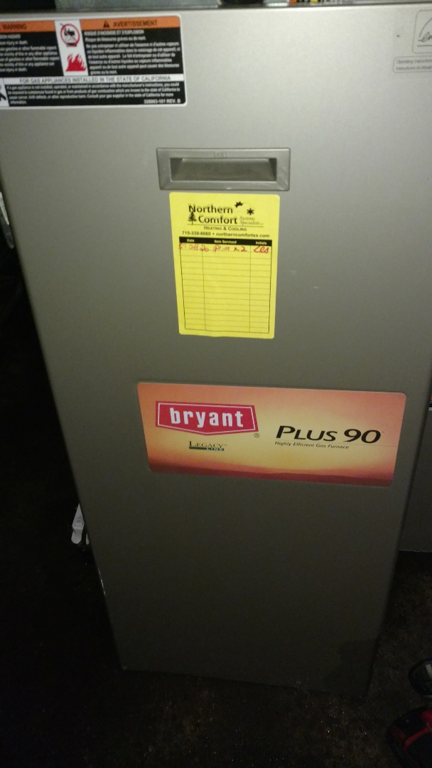 Tomahawk, WI - Perform preventive maintenance check on Bryant 350MAV furnace.  Also check on Carrier air conditioner.