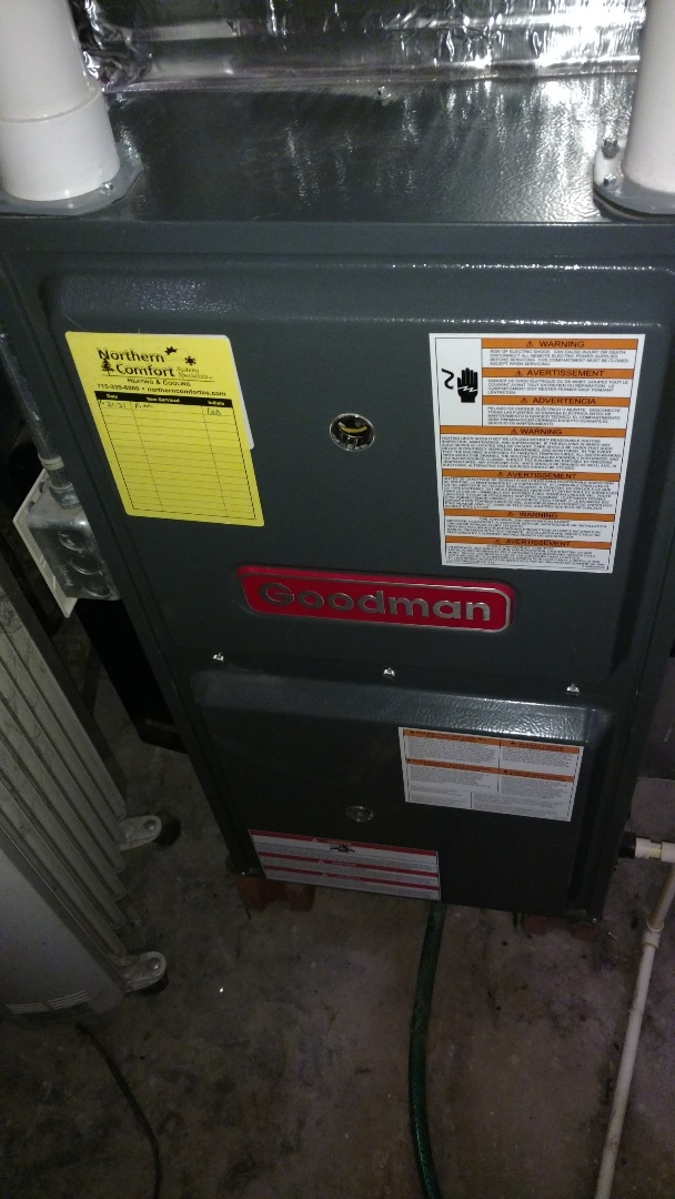 Glen Flora, WI - Perform preventive maintenance check on Goodman GMH furnace.