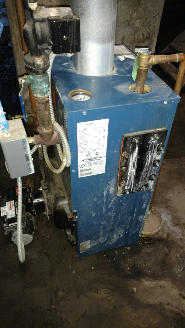 Kennan, WI - Servicing Dunkirk oil Boiler  Add antifreeze for freeze protection.