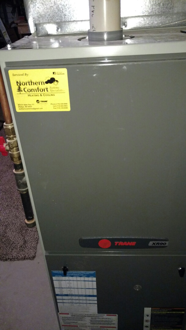 Fifield, WI - Perform preventive maintenance check on Trane LP gas furnace. Change Aprilaire 413 high efficiency air filter.