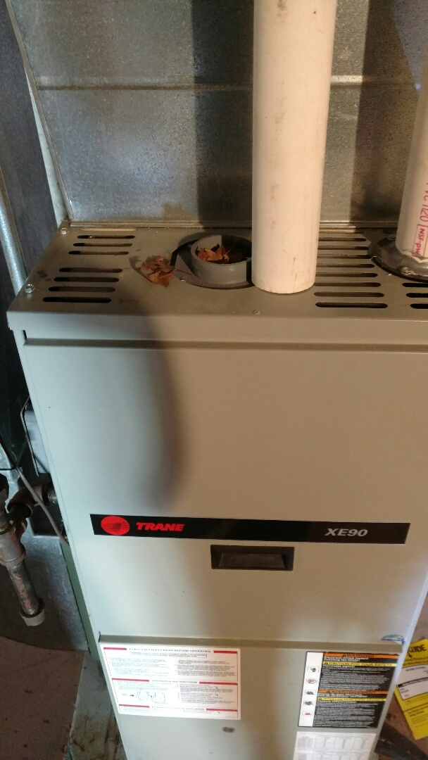 Tomahawk, WI - Emergency service call.  Replace run capacitor on Trane XE90 gas furnace. Perform fall furnace check.
