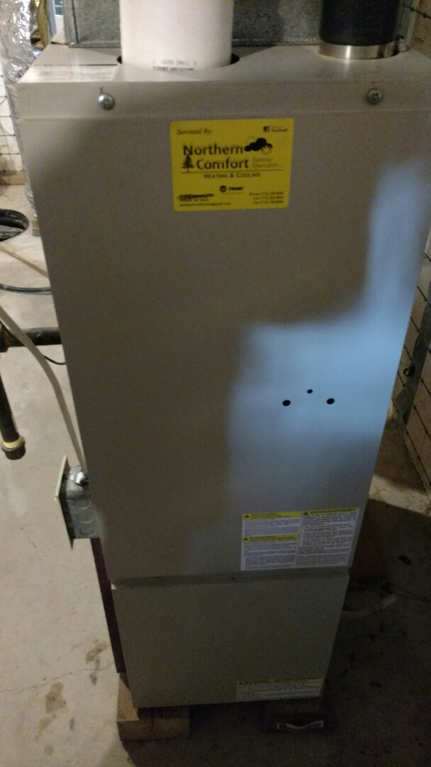 Phillips, WI - Perform preventive maintenance check on Gibson LP gas furnace. Replace weak run capacitor. Verify proper operation.