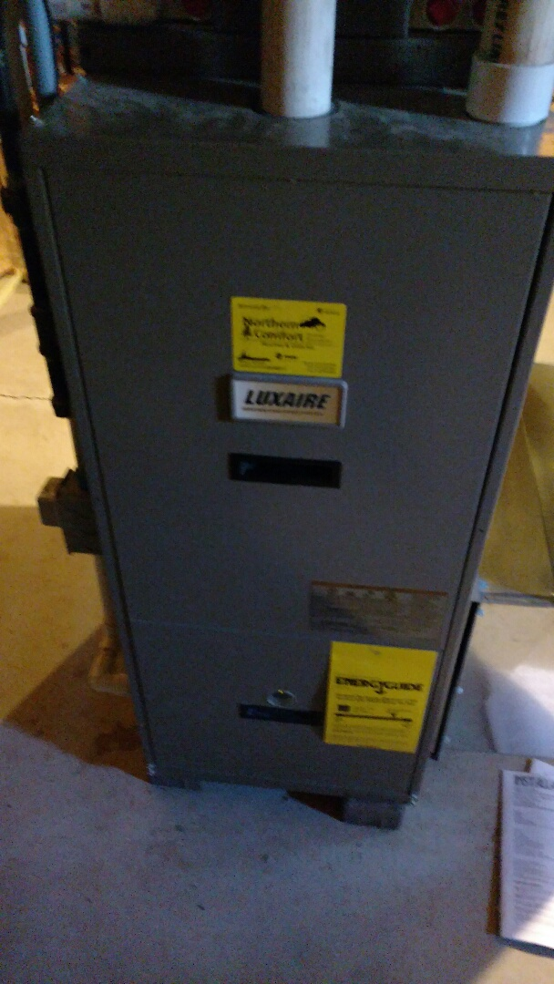 Phillips, WI - Replace open limit switch on Luxaire furnace. Check temp rise and gas pressure.