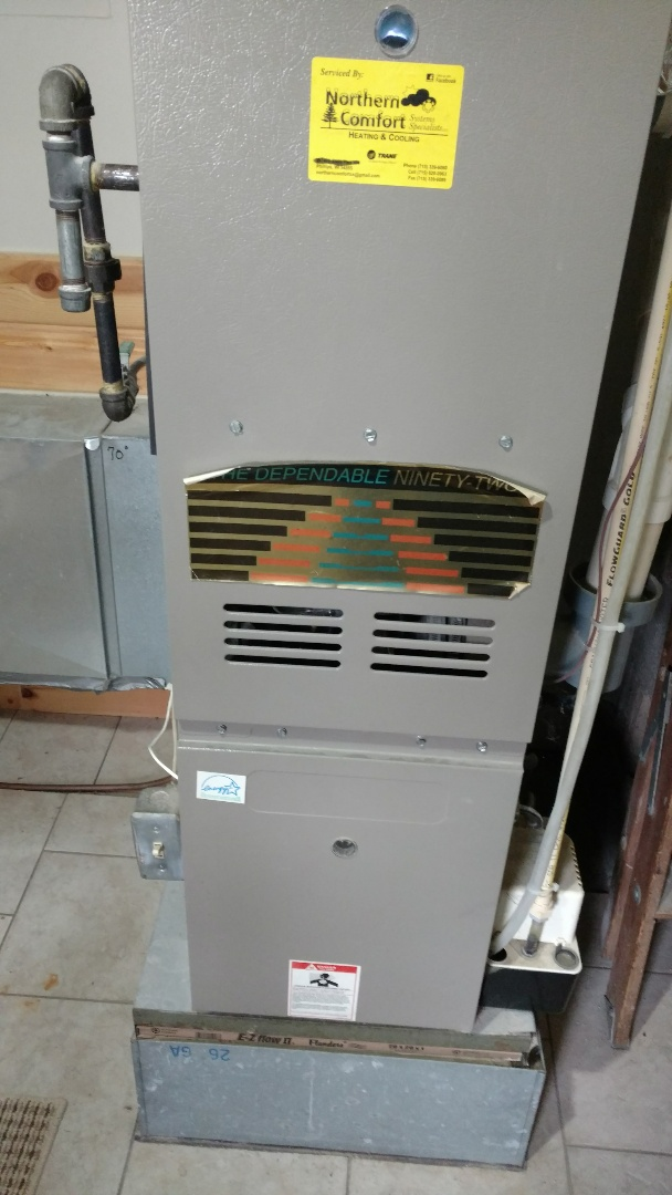 Winter, WI - Repair Goodman Dependable 92 furnace.  Replace weak flue gas temp limit switch.