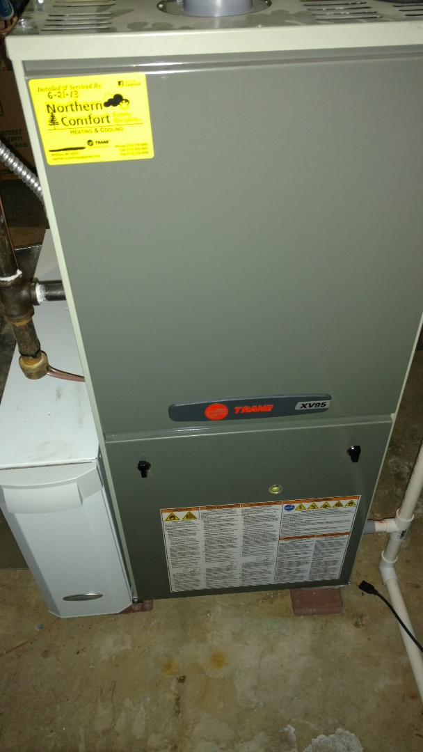 Phillips, WI - Install new Trane XV95 two stage furnace Aprilaire humidifier and Trane XR13 air conditioner.