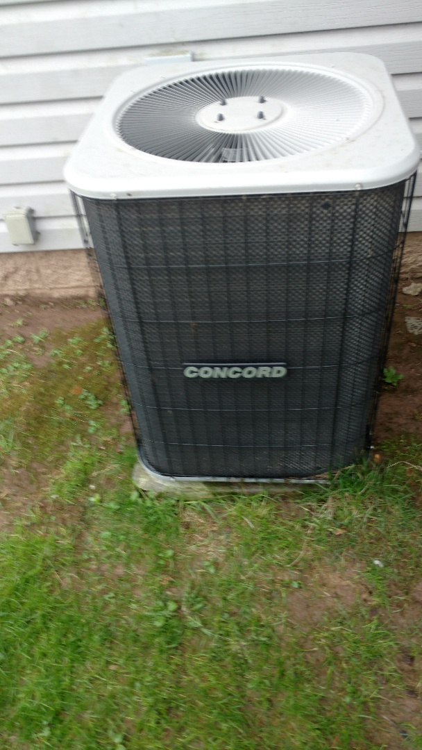 Prentice, WI - Air conditioner check on a Concord central air unit. Reset circuit breaker. Check pressure and temps.