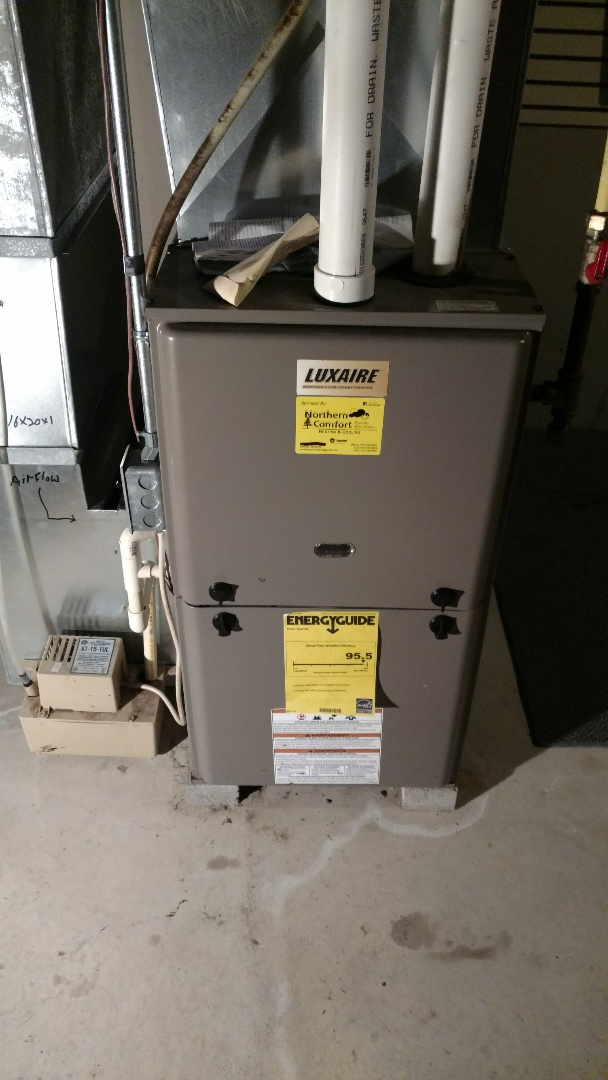 Winter, WI - Replace leaking condensate box header on a Luxaire G9T furnace.