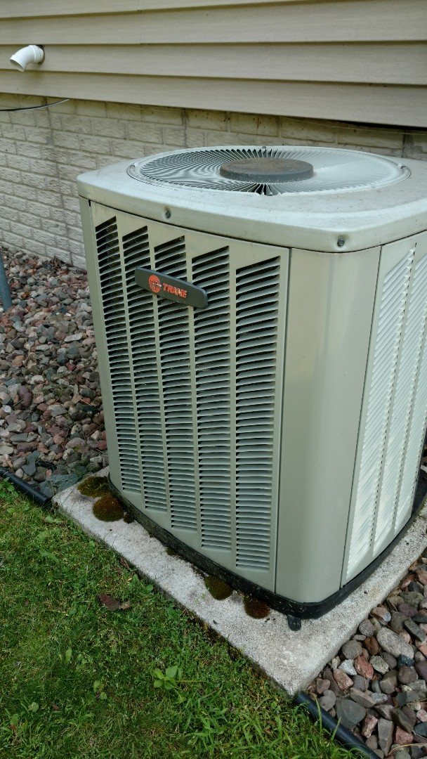 Phillips, WI - Perform preventive maintenance check on Trane XB13 central air conditioner and Trane XR90 LP gas furnace.