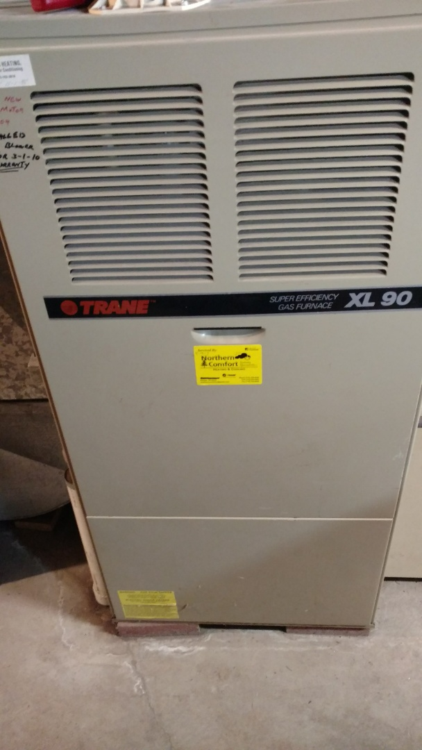 Park Falls, WI - Perform preventive maintenance check on Trane XL 90 LP gas furnace.