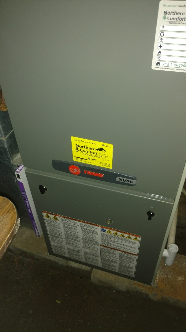 Irma, WI - Check Trane XV95 LP furnace for fall operation. Service Aprilaire model 35 humidifier. Replace water panel.