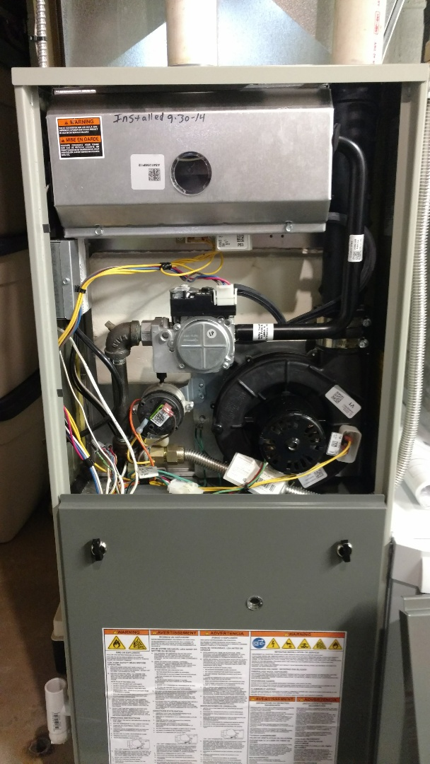 Fifield, WI - Perform preventive maintenance check on Trane XV95 furnace. Replace Aprilaire 413 air filter.