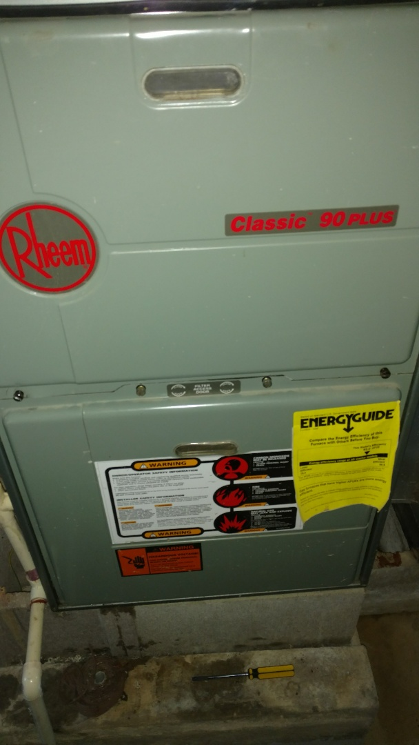 Park Falls, WI - Replace weak pressure switch on Rheem LP gas furnace. Perform preventive maintenance check.