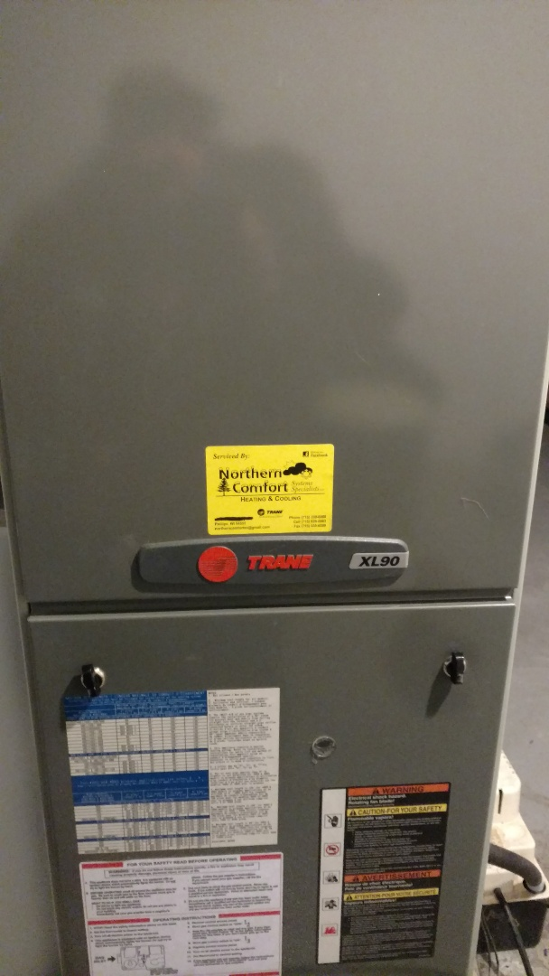 Park Falls, WI - Replace blower motor and the run capacitor on Trane XL 90 gas furnace. Replace Aprilaire 2200 air filter.