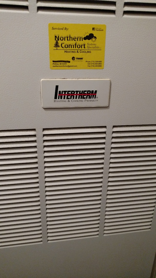 Prentice, WI - Replace combustion blower  on Intertherm mobile home gas furnace.