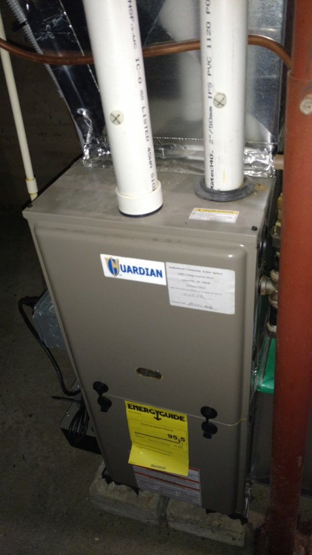 Check over Luxaire furnace. Replace Honeywell thermostat.