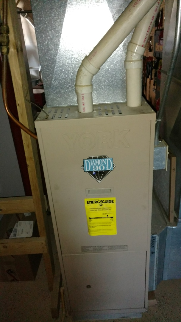 Catawba, WI - Perform preventive maintenance check on York Diamond 90 LP gas furnace. Clean burners and burner orifices. Repostition ignitor to get unit to light well.