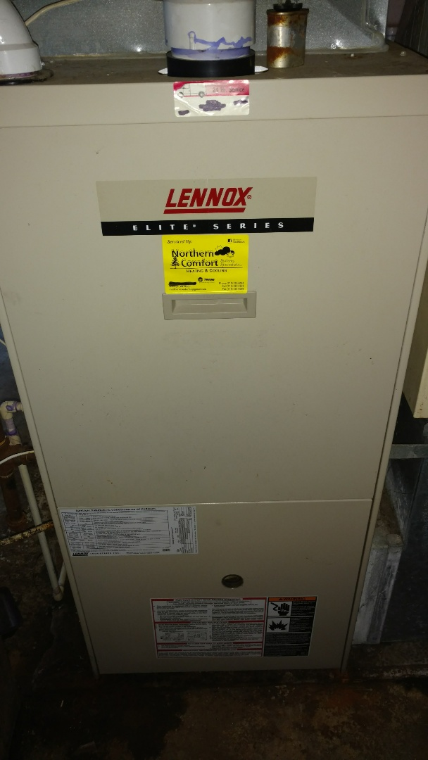Repair condensate leak on Lennox Elite furnace.
