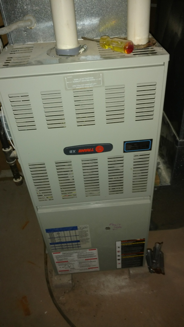 Perform preventive maintenance check on Trane xb90 LP gas furnace. Replace burners with stainless steel burners.