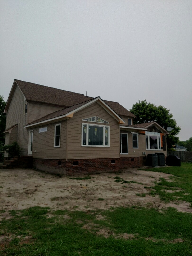 Chesapeake, VA - Addition on home on the lake.  Siding installed.