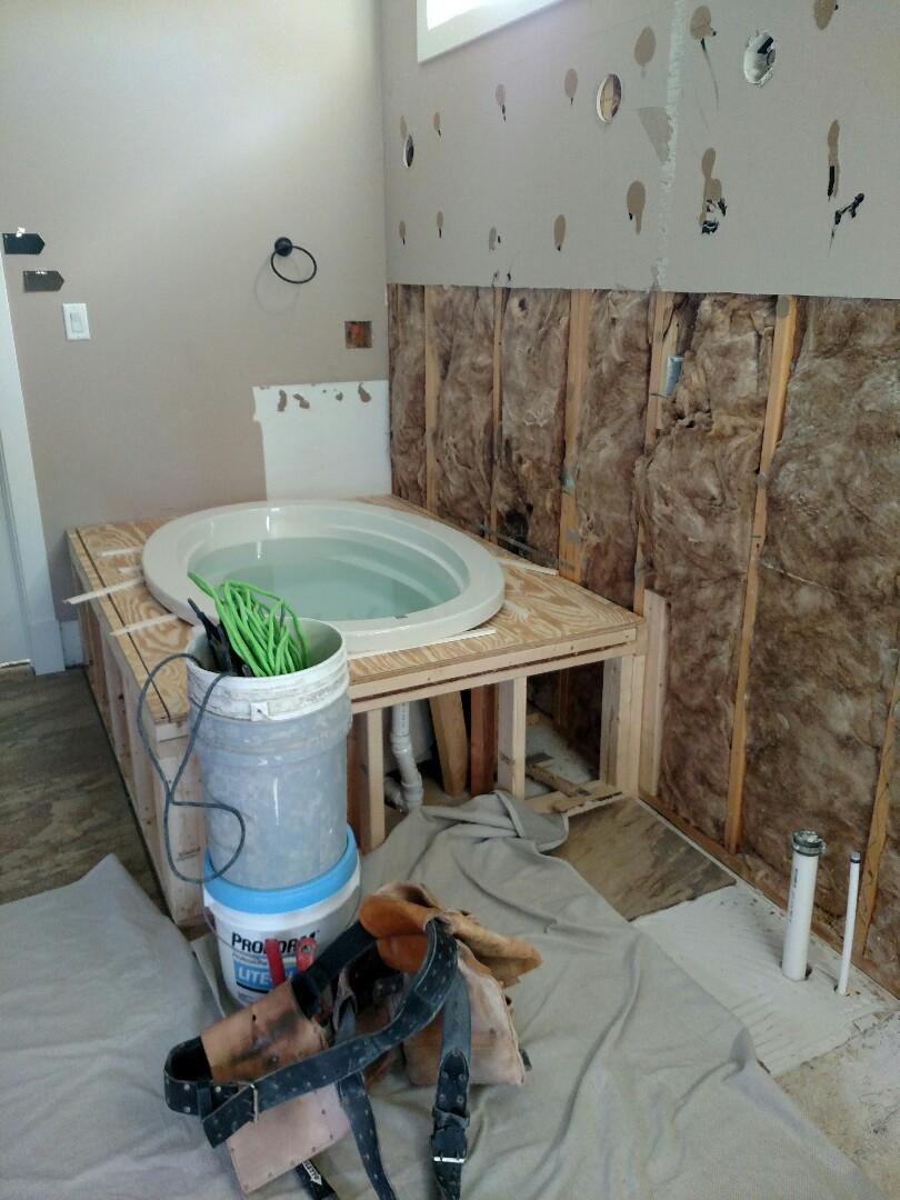 Suffolk, VA - Bathroom remodel.  Sheetrock starting.