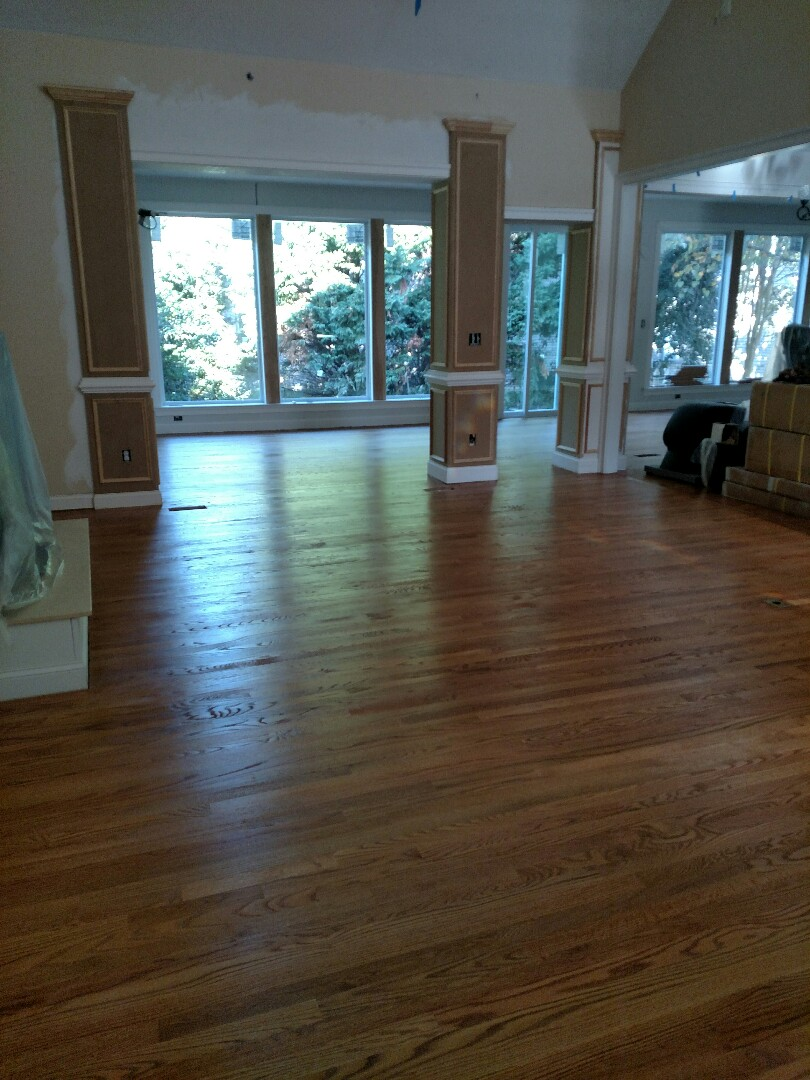 Suffolk, VA - One coat of poly installed.  Second coat today.