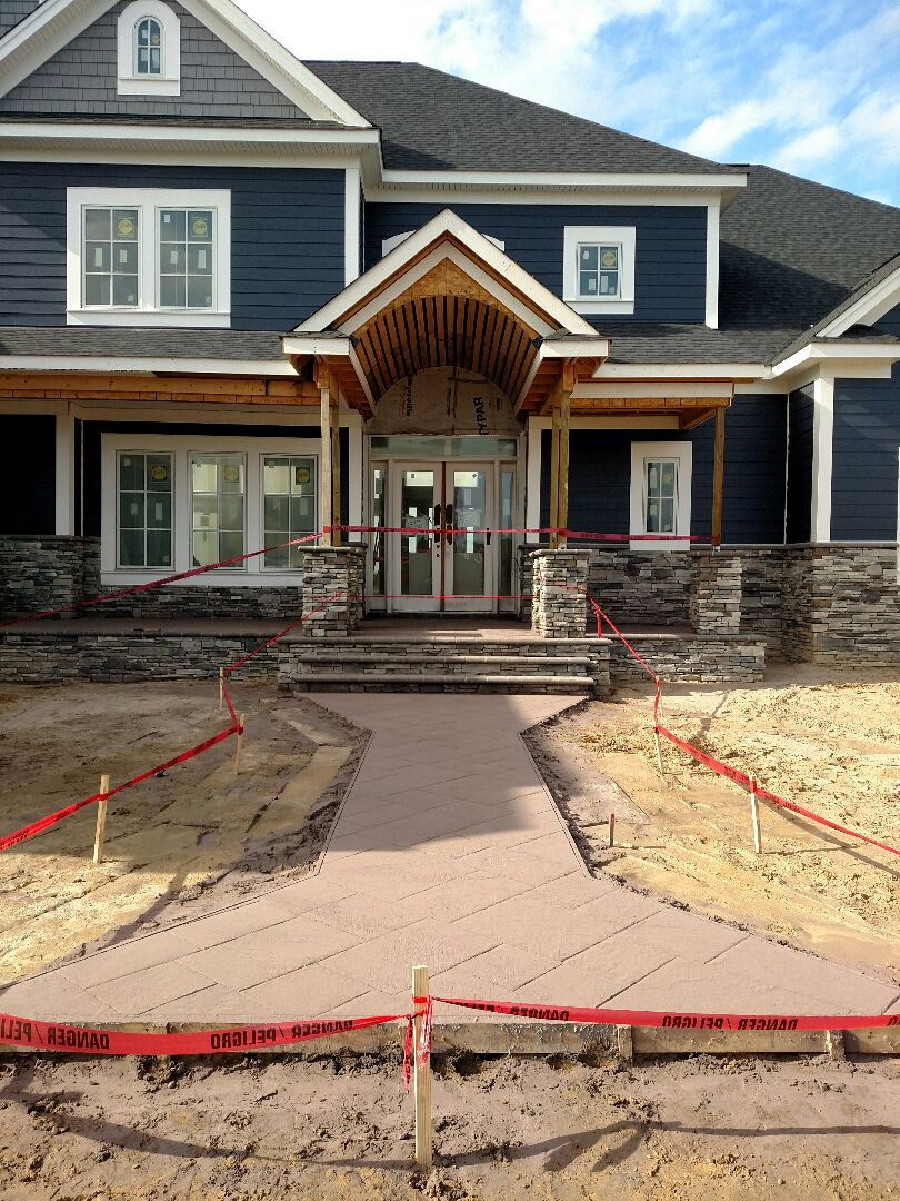 Suffolk, VA - Custom home stamped concrete started.  Still wet with release coat.