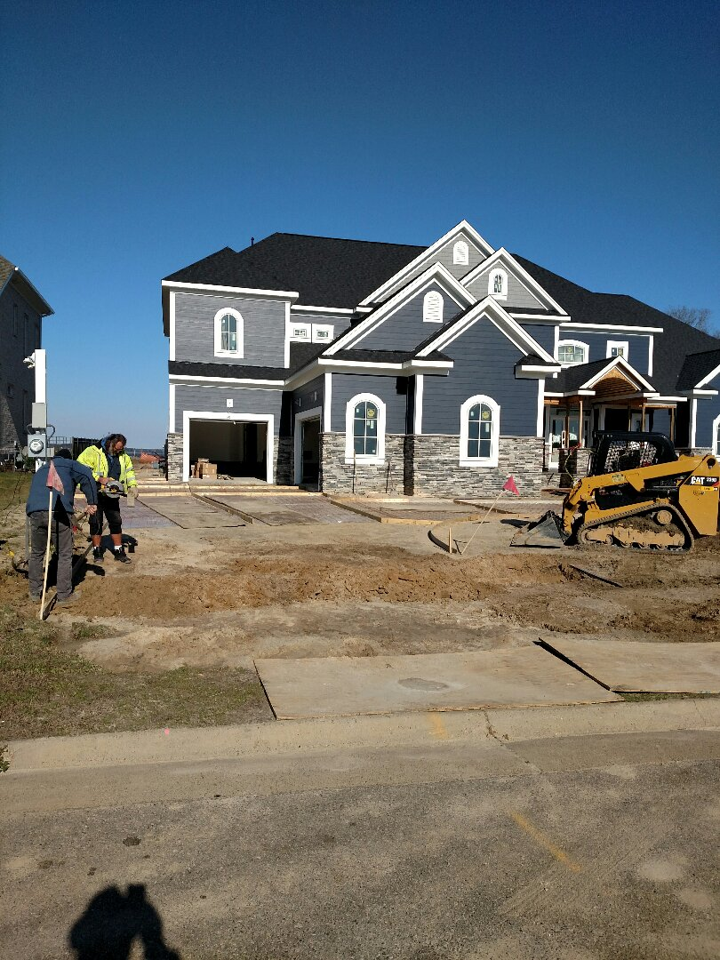 Suffolk, VA - Custom home driveway being formed today.
