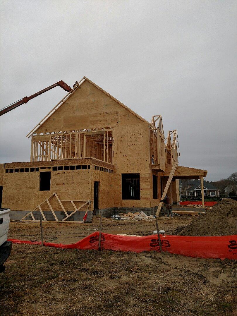Carrollton, VA - Framing coming along nicely at new custom home